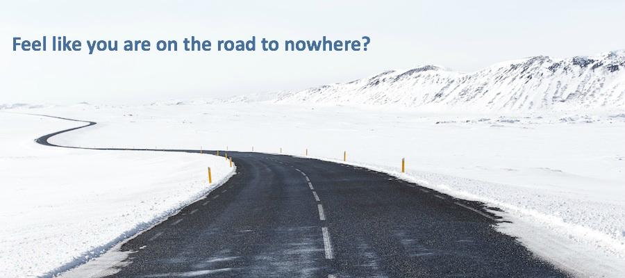 Image of empty road in snowy landscape