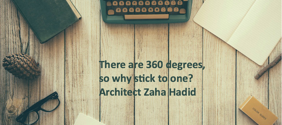 Image of wooden table with old fashioned typewriter and quote of zaha hadid